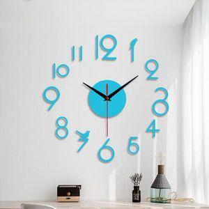 Arabic Numerals Wall Clock Modern Design Acrylic Mirror Clocks Stickers Living Room Decorative House Clock Horloge Office Decor