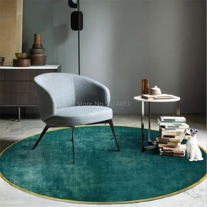 Simple Green Round Area Rugs for Living Room Yellow Circle Printed Carpet Modern Art Kids Bedroom Play Tent Non-Slip Floor Mat