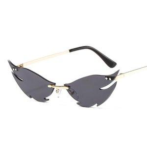 Mirror Eyewear Metal Vintage Women Luxury Wave Sun Glasses Fashion Shades For Sunglasses Women Rimless z4lx UV400 Sguwg