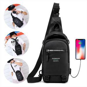 High Quality Nylon Chest Bags USB Charging Male Cross Body Military Multi Layer Men Rucksack Sling Bag One Shoulder Backpack