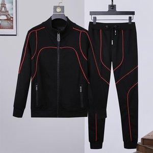 Sudaderas con capucha de los hombres de diseño de moda chándales + pantalones Conjunto 2 piezas sólidas juegos del color de la camiseta de la técnica de alta calidad de la cremallera Slim Fit chándales M-3XL