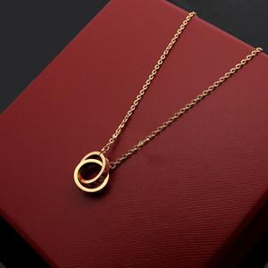 여성을위한 패션 명품 2019 새로운 브랜드 디자이너는 큰 더블 링 18K 금 티타늄 스틸 매력 목걸이 보석 목걸이
