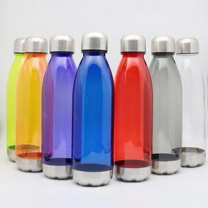 스테인레스 스틸 누출 증명 트위스트 오프 캡 스틸 자료와 750ML 스포츠 물 병 콜라 병 모양 트라 이탄 비 독성 플라스틱 재사용 플라스크