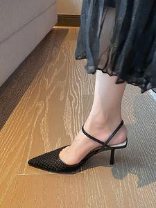 Sexy Pointu Toe femmes Sandales d'été Noir Mesh respirant Slingback Pompes d'abricot de High Heels Thin Sandalias Feminina Chaussures