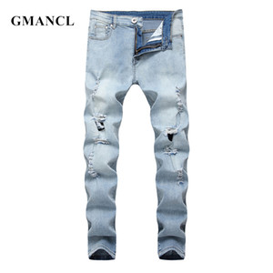 GMANCL Skinny Biker Jeans Men's Fashion 2020 High Street Hip hop Ripped Solid Male Big holes Destroy Joggers Beggar Denim Pants