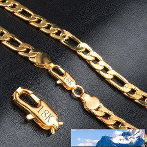 Fashion 18K Real Gold Plated Chains Necklace Bracelet For Men Necklaces Bracelets With 18K Stamp Hot Men Jewelry Free Shipping