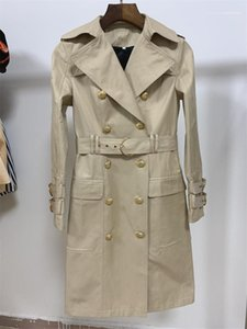 Temperament Long Coats Women Fashion Designer Lapel Neck Trench Coats Autumn Lapel Neck Double Breasted Coats Khaki Womens