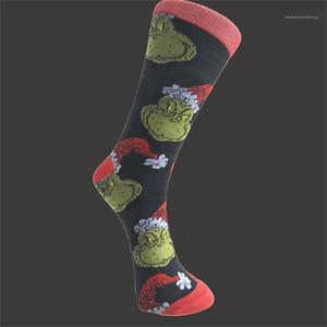 Socks Christmas Mens Socks Fashion Green Hair Monster Printed Medium Tube Breathable Socks Christmas Mens Designer