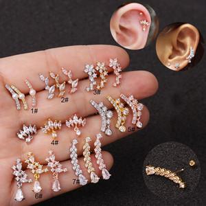 1PC Cz curvo cartilagine orecchino per le donne 20g gioielli in acciaio inossidabile Helix Tragus Orecchini Rook Conch posteriore della vite prigioniera Piercing