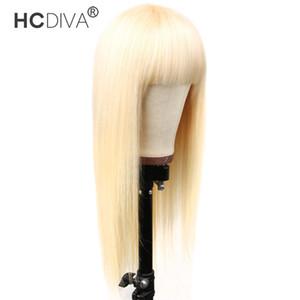 HCDIVA cheveux humains Bang Perruques Couleur 613 Vierge Blonde brésilienne Remy droite Weave 10-28 pouces machine pleine Dentelles perruques avant