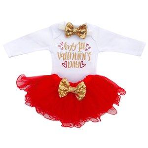 Clearance Excelent New Summer Dress Mesh Girls Newborn Infant Baby Girl Letter Romper+Tutu Tulle Dress Valentine Outfits Set Z0205