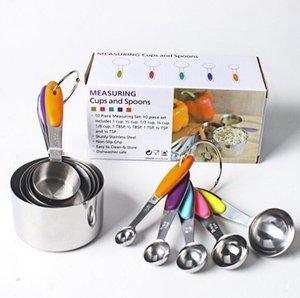Establece vajilla de acero inoxidable de las tazas Set cuchara dosificadora de la cucharada de la torta molde de silicona de colores cocina de la manija Herramienta de medición GWE942