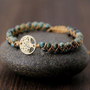 Natural Stone Tree Of Life Woven Bracelets For Women Handmade Beaded String Energy Yoga Charm Bracelet Jewelry Gift Dropshipping