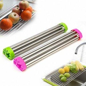 Roll Up Tendedero plegable del plato en el fregadero de usos múltiples Tendedero Colador plegable del fregadero Escurridor bandeja 5QvB #