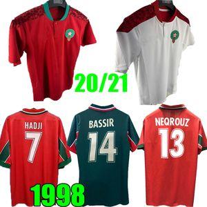 1998 2020 2021 Fußball Trikots Marokko nach Hause 20 21 98 99 Retro classic HADJI NEQROUZ ZIYECH BOUTAIB Boussoufa EL AHMADI roten Fußballhemd