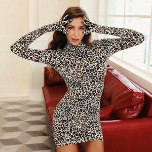 Femmes Robe Gants Leopard Robe sexy léopard sauvage Imprimer manches longues Skinny mode Hip Jupe Designer 859 1OKm #