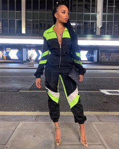 Fashion Zipper Fly Rompers Casual Sports Clothing Contrast Color Long Pants Designer Womens Jumpsuits Lapel Neck