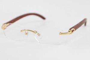 Dekoration Gold Rahmengläser 2020 New Randlos Gold Silber Holz Brillen Dekor Holzrahmen Brille Brillenfassungen Frauen