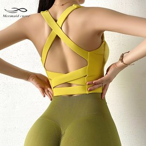 Mermaid Curve Vest Style Yoga Bra Women High Support Sports Bra Sexy Back Cross Hollow Out Fitness Outdoor Running Training