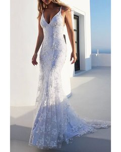 Mermaid   Trumpet Wedding Dresses V Neck Sweep   Brush Train Lace Spaghetti Strap Casual Backless with Appliques