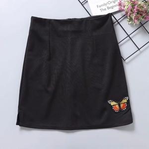 S7uhI pGxZl 여성의 새로운 패션 나비 높은 허리 가방 HIG를 실행 겨울 18 가을과 고관절 덮인 A- 라인 skirt- LINE 드레스 자수