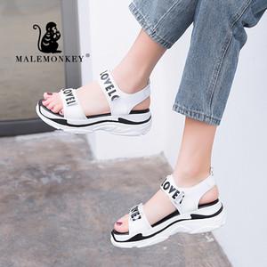 MALEMONKEY 023069 salto Sandálias Sapatos Mulher 2020New Verão Moda Casual Suave Sandals respirável Womes Wedge Confortável
