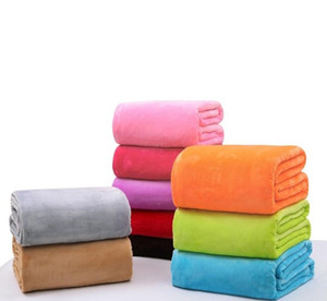 Теплая фланель Одеялка Soft Solid Одеяла Solid Покрывала Плюшевых зима лето Throw Одеяло для дивана-кровати