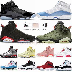 Con Box Size 36-47 Jumpman 6s Anelli UNC Space Jam South Beach 6 Scarpe Travis Scotts Mens Basketball Hare nero a infrarossi Sneaker Sneakers