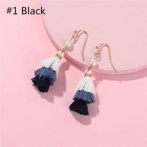 Bohemia Mini Multilayer Handmade Cotton Tassel Drop Earrings 3 Tier Gradient Colorful Gradient Tassel Drop Earrings for Woman