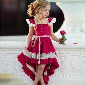 Vieeoease ragazze Flower Dress Bambini vestiti 2019 Summer Fashion coda dello Swallow Vestito Irregolarità pizzo principessa Dress Cc -122