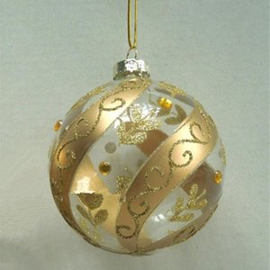Diameter=10cm Gold Decoration Glass Globe Christmas Tree Decorated Glass Ball Christmas Day Pendant