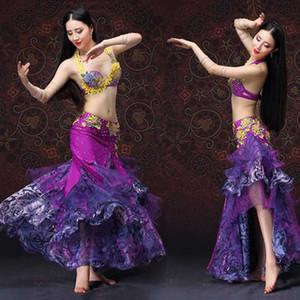 roxo Professional New luxo Mulheres Belly Dance Costume Bra Belly Dance Costume Mulheres Stage Desempenho Skirt Set vestido