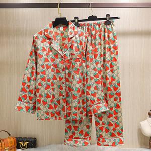 Kadınlar Nefes Marka Pijama Takımı Lüks Yumuşak Gecelik Sıcak Satış için en son Streberry İpek pijamalar lüks Pijama