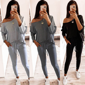 Women Tracksuits Long Sleeve Two Piece Suits Ladies Off Shoulder Outfits Autumn Running Sets Women Sports Yoga Suit 050923