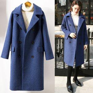 Office Lady larga sólida capa de las mujeres de lana dan vuelta-abajo chaqueta de invierno ancho de cintura doble de pecho Cashmere Coat Niza