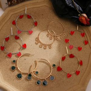Kadınlar Moda Büyük Çember Geometrik Dangle Küpe Kadın Bildirimi Takı için Bohemian Kırmızı Emaye Kalp Yuvarlak Asma Küpe