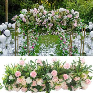 2pcs lot 100cm Road Cited Artificial Flower Row Wedding Decor Flower Wall Arched Door Shop Row Window T station Christmas