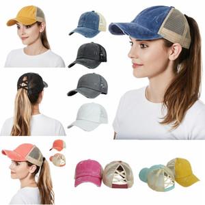 Woman Ponytail Baseball Cap Cross Criss Washed Cotton Denim Hat Messy High Bun Adjustable Mesh Party Hat Sea Shipping DDA496