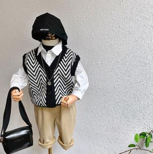 Pull enfants gilet 2020 automne nouveaux enfants vague tricotées gilet garçons col V gilet pull A4076