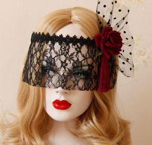 Lace Mesh маска Корона Red Rose Black Sexy кружева маскарад маски для карнавала Halloween Masquerade Half Face Болл партии Маски