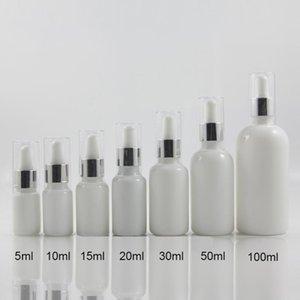 100pcs 20ml Opal Dropper Glass Bottle With Plastic Dropper Bottle Cover