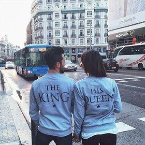 Mode König amp; Königin Paar Print Brief Hoodies 2020 Frühlings-Herbst-Frauen Mann beiläufige Hoodies-Sweatshirts Solid Color Tops