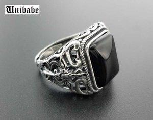 Erkekler Çiçek Moda Açık Boyut halkası Gümüş Tay Takı için Real 925 Gümüş Siyah Garnet S925 halka