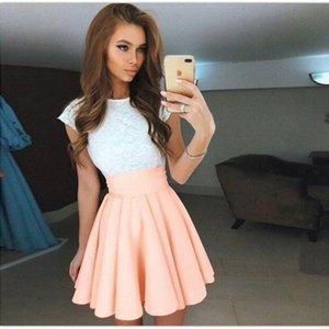 Lace Kawaii Frauen-Minikleid-Strand-Sommer Femme nette Süßigkeit-Farben-Flare eine Linie Partei-Kleid New Mujer Plissee Robe Plus Size GV651 Y2001 BWIN #