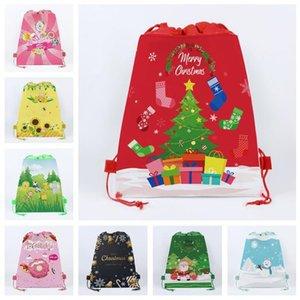 E92302 Gift Kids Xmas Cartoon Drawstring Sale Bag Sunflowers Snowman Adults Woven Christmas Handbags Non Drawstring Totes Bags Designer Feme
