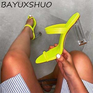 BAYUXSHUO Nouveau été dames à talons hauts pantoufles sexy Toe Chaussons Cristal Racine carrée Hauts talons confortables Chaussures Outdoor femmes