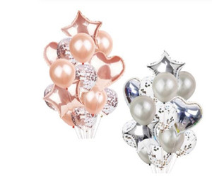 14Pcs Multi Confetti Balloon Happy Birthday Party Balloons Rose Gold Helium Ballons Boy Girl Baby Shower Party Supplies