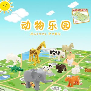 14pcs Children DIY cognitive educational toy Funny animal park scene with large grain building blocks for kids intelligence creative gift 01