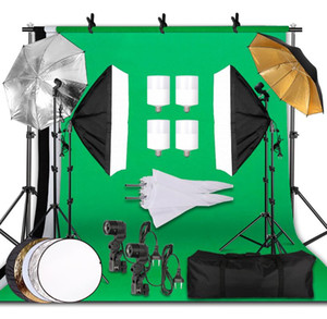 Photographie Kit d'éclairage 2.6x3M fond photographique Muslin Backdrops Softbox parapluie réflecteur de lumière Stand For Photo Studio