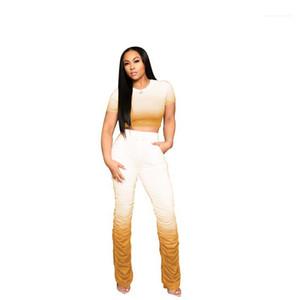Gradient-Farben-Frauen Tracksuits beiläufige kurze Hülsen-Crop Top Stacked Pants Women Two Piece Outfits Designer